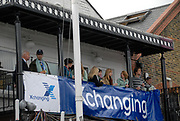 Putney, London,   spectators on the balcony at Crabtree Rowing Club, 156th University Boat Race, River Thames, between Putney and Chiswick, on the Championship Course.  Saturday  03/04/2010 [Mandatory Credit Karon Phillips/Intersport Images]