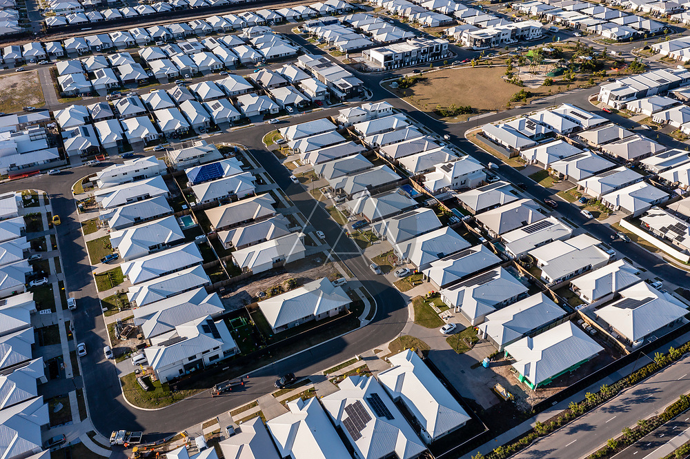 Aerial view of a residential district in Aura, Caloundra district on Sunshine Coast, Queensland, Australia.