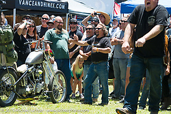 Dunk tank fun on Day one of the Born Free Vintage Chopper and Classic Motorcycle Show at the Oak Canyon Ranch in Silverado, CA. USA. Saturday, June 28, 2014.  Photography ©2014 Michael Lichter.