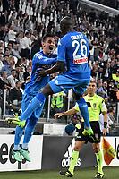 Esultanza Gol Kalidou Koulibaly Napoli. Goal celebration with Jose Callejon <br /> Torino 22-04-2018 Allianz Stadium Football Calcio Serie A 2017/2018 Juventus - Napoli Foto Andrea Staccioli / Insidefoto