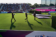 Medals are brought out to the winners of the Paralympic archery finals at the Royal Artillery Barracks in South London