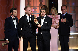 "Jan 8, 2017 - Beverly Hills, California, U.S - The Golden Globe for BEST ORIGINAL SONG – MOTION PICTURE goes to ""City of Stars"" for ""La La Land"" - music by: Justin Hurwitz; lyrics by: Benj Pasek, Justin Paul - is accepted by Justin Hurwitz, Justin Paul, and Benji Pasek at the 74th Annual Golden Globe Awards at the Beverly Hilton in Beverly Hills, CA on Sunday, January 8, 2017. (Credit Image: ? HFPA/ZUMAPRESS.com)"