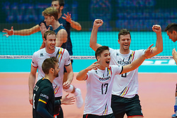 09-08-2019 NED: FIVB Tokyo Volleyball Qualification 2019 / Belgium 0 USA, Rotterdam<br /> First match pool B in hall Ahoy between Belgium vs. USA (1-3) for one Olympic ticket / (L-R) Sam Deroo #3 of Belgium, Tomas Rousseaux #17 of Belgium, Pieter Verhees #9 of Belgium