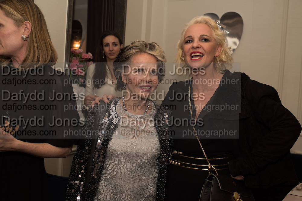 LESLIE CARON; AMANDA ELIASCH, Nicky Haslam hosts dinner at  Gigi's for Leslie Caron. 22 Woodstock St. London. W1C 2AR. 25 March 2015