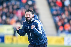 Falkirk's manager Paul Hartley after Falkirk's Peter Grant's first goal. Falkirk 6 v 1 Dundee United, Scottish Championship game played 6/1/2018 played at The Falkirk Stadium.