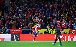 Atletico Madrid's Diego Costa celebrates scoring his side's first goal of the game during the UEFA Europa League, Semi Final, Second Leg at Wanda Metropolitano, Madrid.