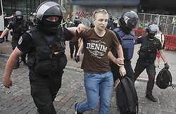 June 17, 2018 - Kiev, Ukraine - Policemen detain Ukrainian nationalists, as they try to stop gay parade ''Kiev Pride '' in Kiev, Ukraine, on 17 June 2018. (Credit Image: © Serg Glovny via ZUMA Wire)