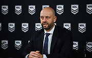 NRL CEO Todd Greenburg addresses the media on Sunday the 15th of March in the wake of the coronavirus (Covid-19) pandemics to announce the 2020 Telstra Premiership would continue.<br /> © NRL Photos 2020