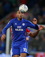 Kenneth Zohore of Cardiff City in action. EFL Skybet championship match, Cardiff city v Barnsley at the Cardiff city stadium in Cardiff, South Wales on Tuesday 6th March 2018.<br /> pic by Andrew Orchard, Andrew Orchard sports photography.