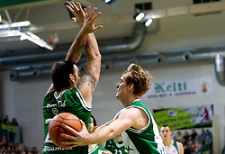 Ratko Varda of Union Olimpija vs Zoran Dragic of Krka during basketball match between KK Krka and Union Olimpija Ljubljana of Round 7th of ABA League 2011/2012, on November 12, 2011 in Arena Leon Stukelj, Novo mesto, Slovenia. (Photo By Vid Ponikvar / Sportida.com)