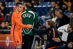 (L-R) Oussama Idrissi of Jong Oranje, Paul Bosvelt during the EURO U21 2017 qualifying match between Netherlands U21 and Latvia U21 at the Vijverberg stadium on October 06, 2017 in Doetinchem, The Netherlands