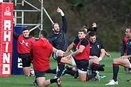 Alun Wyn Jones, the Wales rugby team captain © holds up his hand during the Wales rugby team training session at the Vale Resort Hotel in Hensol, near Cardiff , South Wales on Thursday 23rd November 2017.  the team are preparing for their Autumn International series test match against New Zealand this weekend.   pic by Andrew Orchard
