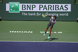 March 7, 2019 - Indian Wells, CA, U.S. - INDIAN WELLS, CA - MARCH 07: Felix Auger-Aliassime (CAN) serves during the BNP Paribas Open on March 7, 2019 at Indian Wells Tennis Garden in Indian Wells, CA. (Photo by George Walker/Icon Sportswire) (Credit Image: © George Walker/Icon SMI via ZUMA Press)