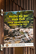 Commemorative banner, Pfeiffer Big Sur State Park, Big Sur, California