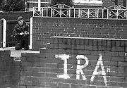 A British soldier on patrol in the Falls Catholic neighborhood in Northern Ireland.