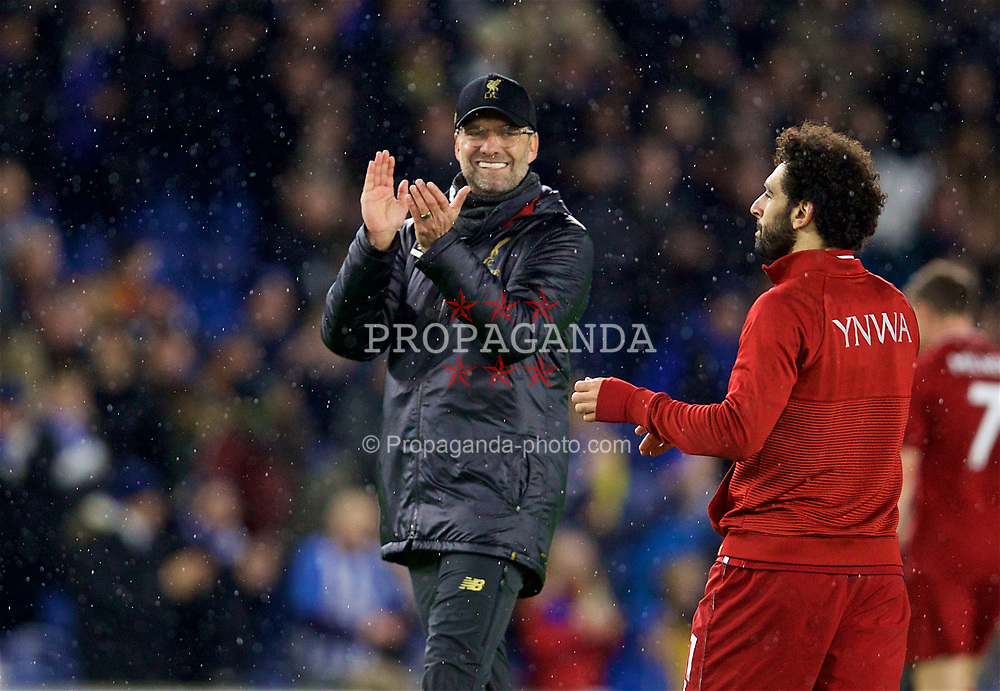 BRIGHTON AND HOVE, ENGLAND - Saturday, January 12, 2019: Liverpool's manager Jürgen Klopp applauds the supporters after the FA Premier League match between Brighton & Hove Albion FC and Liverpool FC at the American Express Community Stadium. Liverpool won 1-0. (Pic by David Rawcliffe/Propaganda)