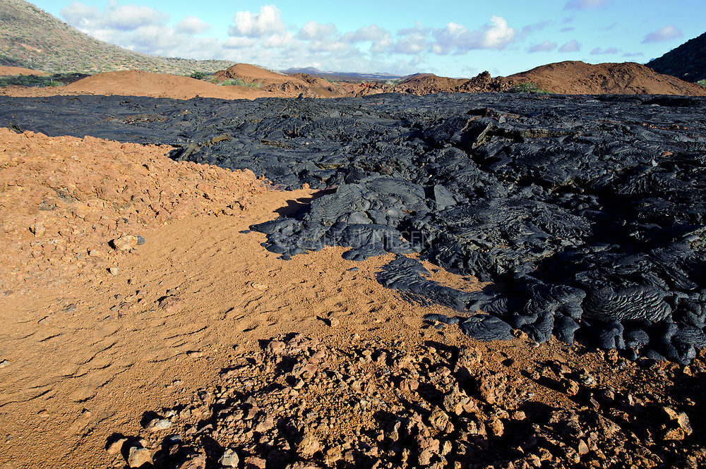 Overview of the 1897 created lava flow at Sullivan Bay, Santiago, the Galapagos. Photo from July 2011.
