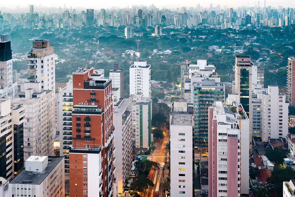 Skyline of Sao Paulo in the haze of the dawn, Brazil, South America