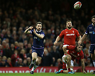 Grieg Laidlaw of Scotland in action. Wales v Scotland, NatWest 6 nations 2018 championship match at the Principality Stadium in Cardiff , South Wales on Saturday 3rd February 2018.<br /> pic by Andrew Orchard, Andrew Orchard sports photography