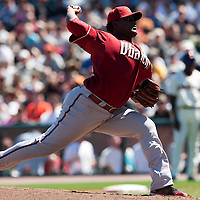 19 April 2009: Arizona Diamondbacks' Juan Gutierrez pitches against the San Francisco Giants during the San Francisco Giants' 2-0 win  against the Arizona Diamondbacks at AT&T Park in San Francisco, CA.