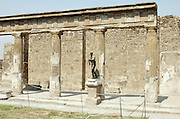 Statue of Apollo at the Temple of Apollo, Pompeii, Campania, Italy under the Vesuvius volcano, July 2006