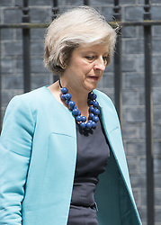 Downing Street,  London, June 27th 2015. Home Secretary Theresa May leaves the first post-Brexit cabinet meeting at 10 Downing Street.