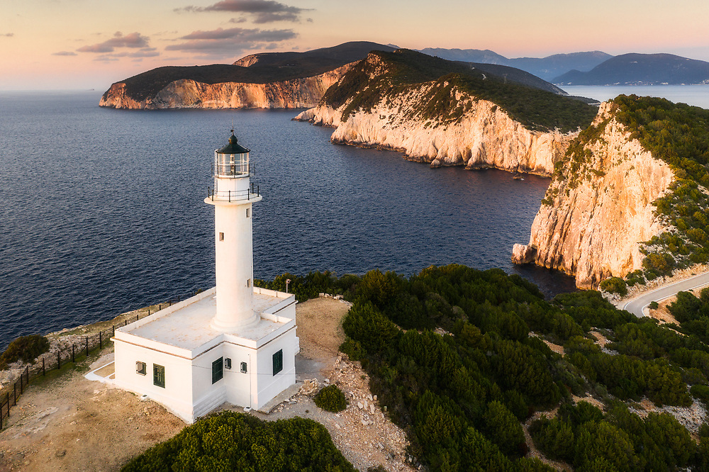 The Lighthouse of Lefkas at Cape Ducato, which is down south of the island of Lefkada, Greece