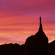 Rock hoodoo has eroded to the shape of a needle in Bryce Canyon National Park, Utah.