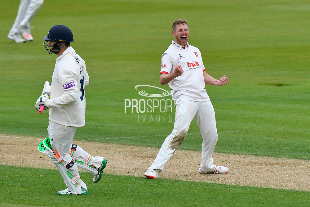 Wicket - Jamie Porter of Essex celebrates taking the wicket of Rilee Rossouw of Hampshireduring the first day of the Specsavers County Champ Div 1 match between Hampshire County Cricket Club and Essex County Cricket Club at the Ageas Bowl, Southampton, United Kingdom on 5 April 2019.