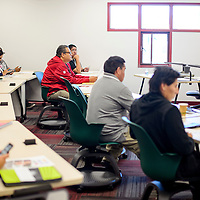 Peter Holter gives a business development presentation during the Change Labs conference at Navajo Technical University in Crownpoint Friday.
