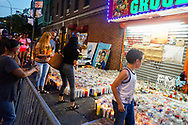 """Crowds gathered at an expanding memorial filled with candles, paintings, t shirts, cards, and balloons, to honor the memory of 15 year old, Lesandro """"Junior"""" Guzman Feliz . <br /> Junior, was brutally murdered by gang members  in a bodega in the Bronx, in a tragic case of mistaken identity."""