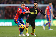 Joel Ward of Crystal Palace challenges Sergio Aguero of Manchester City. Premier League match, Crystal Palace v Manchester city at Selhurst Park in London on Saturday 19th November 2016. pic by John Patrick Fletcher, Andrew Orchard sports photography.