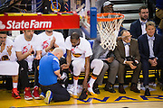 Golden State Warriors forward Kevin Durant (35) swaps out shoes on the bench during a game against the LA Clippers at Oracle Arena in Oakland, Calif., on January 28, 2017. (Stan Olszewski/Special to S.F. Examiner)