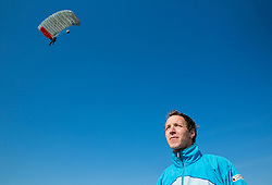 World ParaSki Champion Matej Becan of Slovenia parachuting team during practice session, on March 10, 2015 in Airport Lesce, Slovenia. Photo by Vid Ponikvar / Sportida
