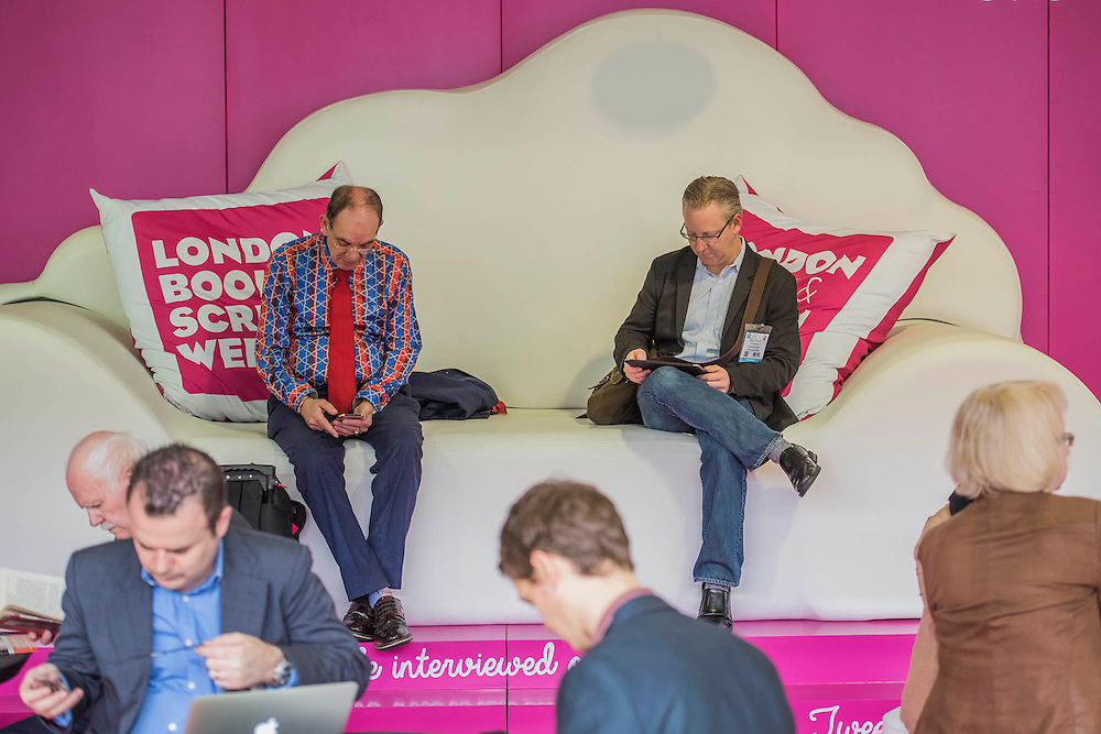 Putting their feet up between meetings - The London Book Fair, celebrating its 45 year anniversary, is the global marketplace for rights negotiation and the sale and distribution of content across print, audio, TV, film and digital channels. Staged annually, LBF sees more than 25,000 publishing professionals arrive in London for the week of the show to learn, network and kick off their year of business. The London Book Fair sits at the heart of London Book & Screen Week, and runs from the 12-14 April 2016.