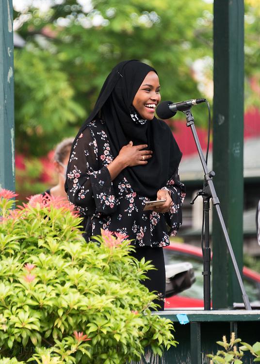 Bar Harbor, Maine. July 19, 2020. Safiya Khalid speaks at the MDI Racial Justice Coalition rally.