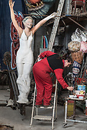 Priscilla Borri working in her hangar inside the Citadel of the Carnival