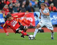 Fotball NM Cup Stjørdalsblink - Rosenborg<br /> Øverlands Minde, Stjørdal 13 mai 2010<br /> <br /> Kjetil Tynes, Stjørdals-Blink og Per Ciljan Skjelbred, Rosenborg i duell<br /> <br /> Foto : Arve Johnsen, Digitalsport