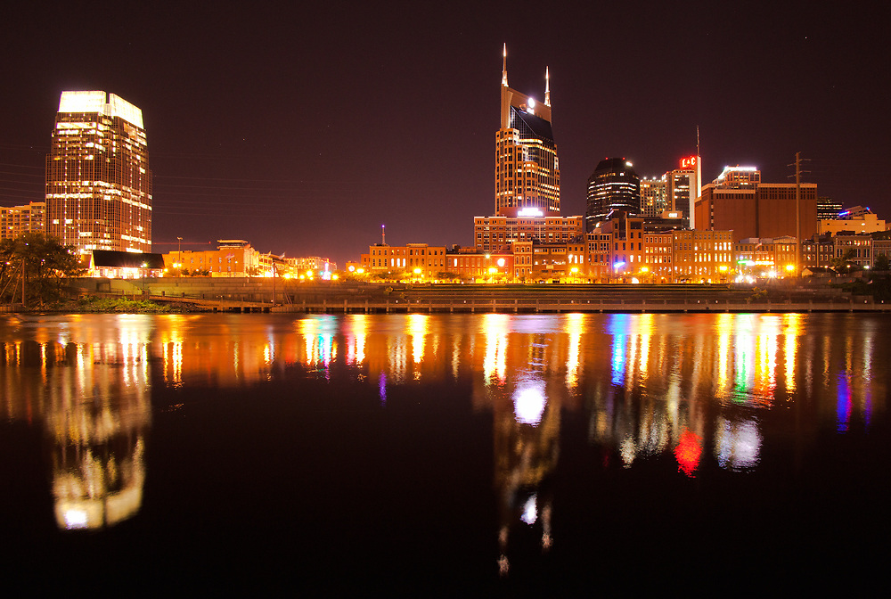 Nashville downtown reflection at night