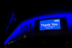 Ashton Gate Stadium, home of Bristol City and Bristol Bears, is lit up in blue with a thank you message to NHS workers fighting the Covid-19 (Coronavirus) Pandemic - Rogan/JMP - 26/03/2020 - Ashton Gate Stadium - Bristol, England.