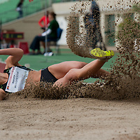 Renata Medgyesova from Slovakia competes in women's long jumping where she placed second with 6.64 during the Istvan Gyulai Memorial Hungarian Athletics Grand Prix 2011, in the Ferenc Puskas Stadium in Budapest, Hungary on July 30, 2011. ATTILA VOLGYI