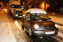 © under license to London News Pictures. 30.11.2010 Time 7pm  Traffic stuck on Sevenoaks Way, Orpington, Kent.  Some drivers have been stuck on this stretch of road(from Cray Avenue and Court Road) for four hours. Picture credit should read Grant Falvey/London News Pictures