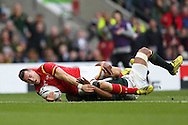 Gareth Davies of Wales scores his teams 1st try. Rugby World Cup 2015 quarter final match, South Africa v Wales at Twickenham Stadium in London, England  on Saturday 17th October 2015.<br /> pic by  John Patrick Fletcher, Andrew Orchard sports photography.
