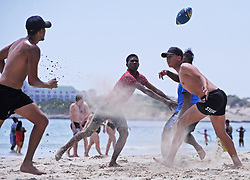"South Africa Cape Town 06 December 2019 - Weather pic - The Western Cape has seen fine weather conditions this week with temperature souring to above 30 degrees Celsius. On Gordon's Bay Beach, A group of friends played ""Beach Touch Rugby"" on the beach. Phographer: Tracey Adams/African News Agency"