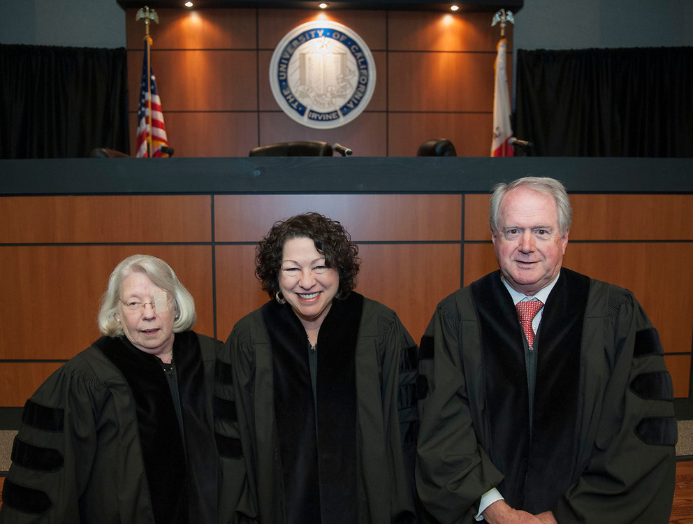 Senior United States Circuit Judge of the United States Court of Appeals for the Sixth Circuit Martha Daughtrey, left, associate justice of the Supreme Court of the United States Sonia Sotomayor and United States Circuit Judge of the United States Court of Appeals for the Ninth Circuit William Fletcher pose for a photo following the UC Irvine School of Law's fourth annual Experian/Jones Day Moot Court Competition.