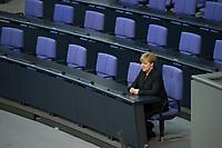 17 DEC 2013, BERLIN/GERMANY:<br /> Angela Merkel, CDU, Bundeskanzlerin, sitzt nach Ihrer Vereidigung allein in der Regierungsbank, 4. Sitzung des Deutschen Bundestages mit Vereidigung der Bundeskanzlerin, Plenum, Deutscher Bundestag<br /> IMAGE: 20131217-01-050<br /> KEYWORDS: Eid, Eidesformal, spricht, sprechen, Amtseid,