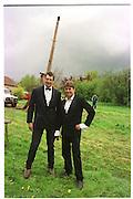 Dangerous sports Club members richard Wicks and  David Aitkenhead in front of the trebuchet human catapult. April 2000. Sowdens, Netherstowey, Nr Fiddington.Nr. Bridgewater. Somerset. <br />© Copyright Photograph by Dafydd Jones<br />66 Stockwell Park Rd. London SW9 0DA<br />Tel 0171 733 0108