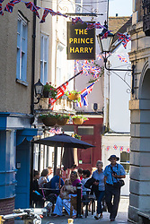 The recently renamed Prince Harry pub in Windsor celebrates the royal wedding as excitement builds up in Windsor ahead of Saturday 19th May when HRH Prince Harry weds actress Megan Markle. Windsor, May 17 2018.
