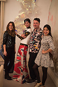 JESSIE VAUGHAN; VALERIA NAPOLEONE; JOE SCOTLAND; SOL CALERO, Valeria and Gregorio Napoleone and Joe Scotland host a dinner at therir home in Kensington  in celebration of Sol  Calero's commission at Studio Voltaire.  London. 13 October 2015