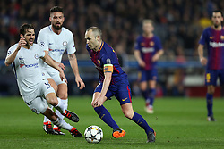 March 14, 2018 - Barcelona, Spain - ANDRES INIESTA of FC Barcelona and CESC FABREGAS of Chelsea FC during the UEFA Champions League, round of 16, 2nd leg football match between FC Barcelona and Chelsea FC on March 14, 2018 at Camp Nou stadium in Barcelona, Spain (Credit Image: © Manuel Blondeau via ZUMA Wire)